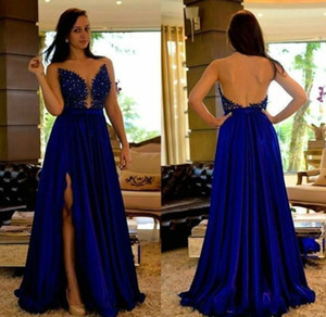 Royal Blue A Line Evening Dresses A Line Crystal Appliques Split Sexy Prom Dress 2018 New Vintage Formal Gowns