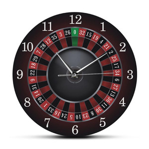Poker Roulette Wall Clock With Black Metal Frame Las Vegas Game Room Wall Art Decor Timepiece Clock Watch Casino Gift