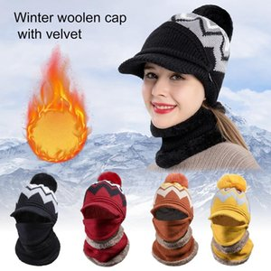 3 Pcs Set Fashion Women Winter Knitted Hat Thickened Woolen Cap With Warm Mask And Neck Scarf Warmth And Windproof