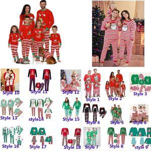 Рождественские дети мальчик девочки для взрослых семьи сопоставляющие рождественские олени полосатые пижамы пижамы ночная одежда Pajamas родитель-ребенок Pajamas вечеринка HH9-3304