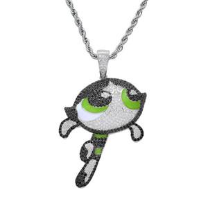New hip-hop jewelry, flying girl cartoon pendant, hiphop micro-inlay zircon hip-hop necklace