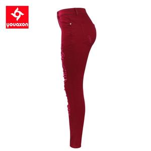 2095 YouAxon zerlumpte Frauen Dehnbare zerrissene Hosen Skinny Bleistift Jeans Frau Hose mit Raster Y200417