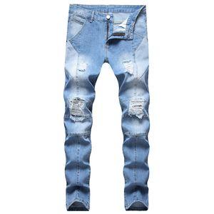 رجالي تصميم الجينز الأزياء بألواح السائق جينز نحيل بالأسى الضوء الأزرق الدنيم السراويل دروبشيبينغ بالجملة جينز الأسهم