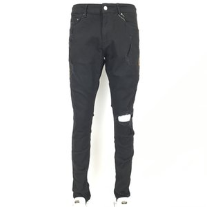 New Fashion Mens Jean Street Black Holes White Stripes Jeans Hiphop Skateboard Pencil Pants AR29