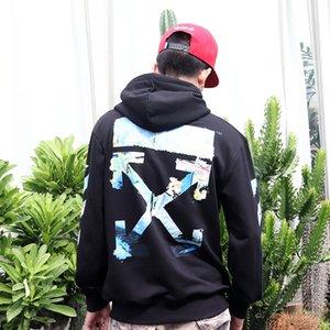 Hip Hop Off Style Beyaz Pamuk Triko Coat Hoodie Fleece Sokak Yağ Baskı Lovers Boyama