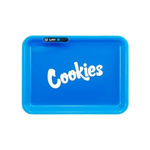 Cookies Glow Tray electric Rechargeable Voice Controll LED Rolling Plate Featured Dry Herb Tobacco Storage Tray Holders With Bag