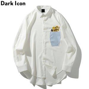 Dark Icon Flower Print Vestido de manga larga Camisas Hombres Harajuku Camisa casual para hombre Moda Hip Hop Blusa Camisas blancas C1212