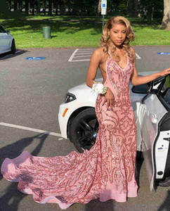 Pretty African Style Prom Gown Sexy Woman Deep V-neck Mermaid Long Formal Evening Dress Custom Made