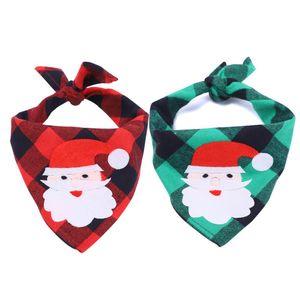 Christmas Dog Bandana Elk Printed Pet Washable Decoration Scarf Handkerchiefs Bibs Pet Accessories Saliva Towel Pet Collar Napkin HWA2389