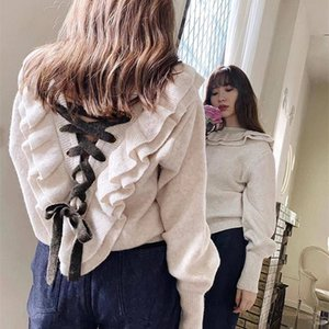 autumn and winter new women's clothing Japanese cute wood ear straps Slim fit front and rear knit sweater sweater 201225