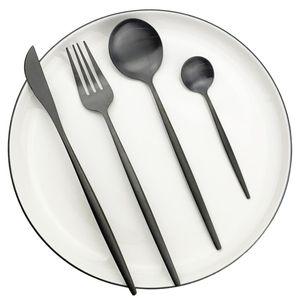40Pcs Black Matte Cutlery Set 304 Stainless Steel Dinnerware Set Knife Fork Spoon Flatware Western Kitchen Silverware Tableware T200430