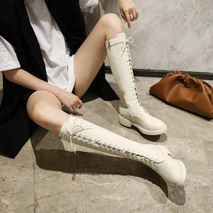 womens winter shoes chunky middle heels platform beige silver patent PU leather riding lace-up boots knee high lady