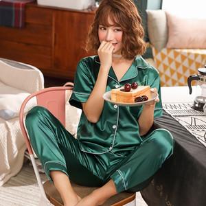 Olyweya à manches courtes Soie Pyjamas Spring Femmes Summer Pyjama Ensembles Soie Pijama Pijama Pyjamas Plus Taille Set de nuit 4xL 5XL Y0112