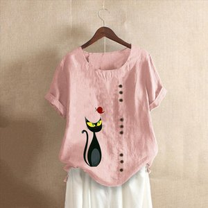 Cartoon cat animal pattern Print Blouses Women O Neck Short Sleeve Buttons Cotton Linen Vintage Top Shirts ropa mujer clothes