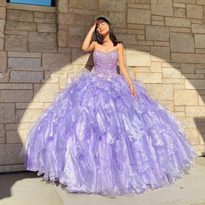Sweetheart Light Purple Quinceanera Dresses Ruffles Organza Skirt Sweet 16 Prom Party Gowns Robe de Soiree