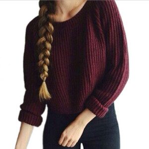 Pop up sweater women's wine red short cut hem split long sleeve Pullover navel exposed Sweater