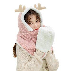 Women Winter Warm 3 In 1 Hoodie Hat with Long Scarf Gloves Combo Cartoon Reindeer Antler Fluffy Plush Earflap Cap Mitten