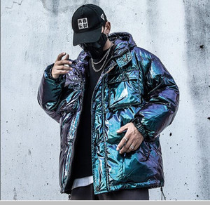 Reflective Cargo Parkas Jackets Mens Hip Hop Streetwear Padded Jackets Harajuku Windbreaker Parka Coats Techwear