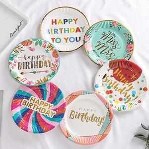 Geburtstag Kuchen Papierplatte Einweg Runder Form Kuchen Geschirr Sets Drucken Hot Stamping Platte Geburtstag Party Kuchen Liefert Meer FFC5329