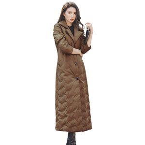 Brand Design Winter New Caramel Down Jacket Women X-Long Single-breasted Turn-down Collar Slim Street Style Down Coat Parkas