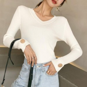 Sexy V Neck Women Sweater Casual Solid Slim Office Lady Button Fashion Elegant Autumn Winter 2020 All-match Female Knitted Wear