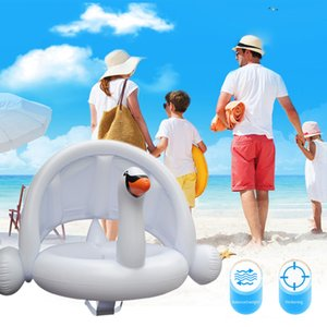 White Baby Inflatable Flamingo Pool Swan Boat Seat Adjustable Canopy Children Swimming Ring Z1202