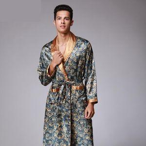 Mens 2020 Pattern Bathrobe Kimono Robes V-neck Faux Silk Male Sleepwear Nightwear Male Satin Bath Robe