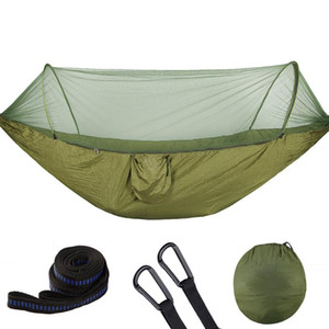 Portable Outdoor Camping Hammock with Mosquito Net 1-2 Person Hanging Bed Hiking Travel Hunting Sleeping Swing Hammocks