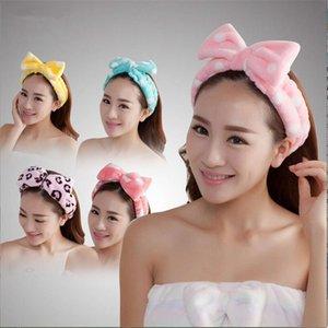 YJ Mercan Polar Bow Bantlar Kadınlar Kızlar Için Yıkama Yüz Makyaj Banyo Katı Çizgili Polka Dots Hairband Türban Saç Aksesuarları