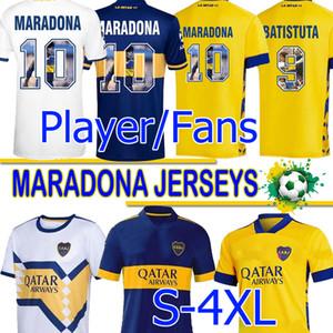 4XL Maradona Boca Juniors Fussball Jerseys Fans Spielerversion Maradona Retro Batistuta Spezielles Drucken 2020 2021 Maillot de Foot Uniformen