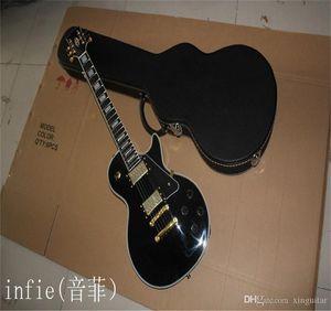 2021 Black Standard Star Custom Metal Electric Gold Pickup Guitarra de diapasón de ébano (sin cáscara dura)