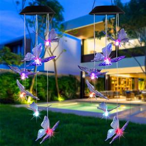 New Design Solar Intelligent Light Control Design and Color Shell Butterfly Wind Chime Corridor Decoration Pendant Solar Panel Colorful