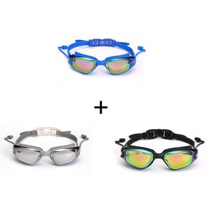 3 Pcs Swimming Goggles Earplugs Waterproof Glasses Electroplate Anti Uv Pull Buckle Adult Silicone Professional Goggles sqchml hom