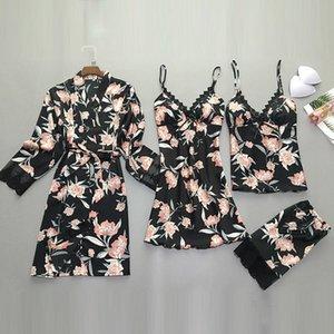 QWEEK 2 Pieces set Womens Pajamas Satin Lace Top Sexy Pajamas Women Summer 2020 Pyjama Mujer Pyjamas for Women Sleepwear Female LJ200814