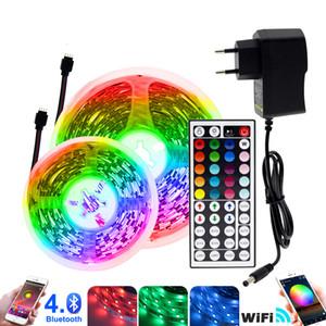 RGB LED قطاع ضوء 5 متر 10 متر 20 متر 5050 rgb للتغيير dc12v مرنة الصمام الشريط wifi / بلوتوث / التحكم الموسيقي الصمام قطاع rgb