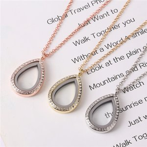 10pcs lot Water drop Teardrop with Rhinestones floating charms locket glass living memory lockets necklace 60cm chains for women Y1130