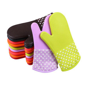 Oven Gloves Silicone High Quality Microwave Oven Mitts Slip-resistant Bakeware Kitchen Cooking cake Baking Tools Free Shipping