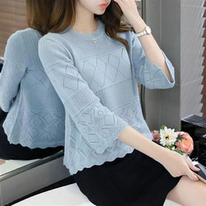 2021 Fashion Summer Pullover Tops Hollow Out Thin Women Sweater Cute Girls Half Sleeve Sweaters Top Ladies Knitted Jumper Female