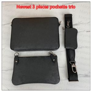 Новая мода мужская сумка Messenger Socience Socic Men Pochette Trio Bage Bags 3 штуки черный серый холст кожаные сумки для поперечины сумки для кошельки кошелек