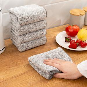 Kitchen Wiping Rags Anti-ingrasso Microfibra Panni per la pulizia di microfibra addensati Bamboo carbone di carbone super assorbente