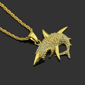 2020 new high end Brand Designer Necklace Western New Hip Megalodon Pendant Hot Diamond Pendant Shark