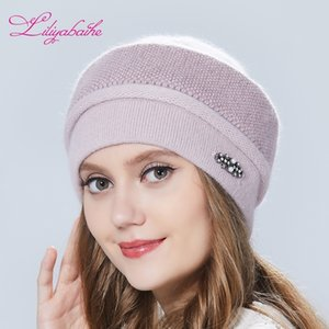 Liliyabaihe Frauen Hut Winter Hut Gestrickte Angora Wolle Ornamente Doppel Warm Hat Y200103