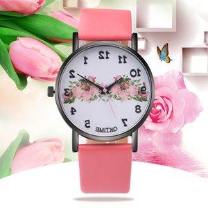 100 шт. Новое oktime розовые цветочные часы, цветочные женские женщины кожаные часы, винтажные современные кварцевые часы
