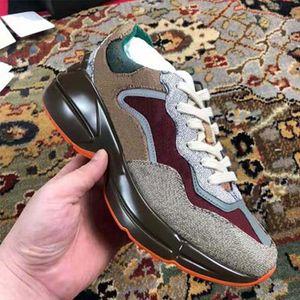 جديد جلد حذاء الرجال النساء أحذية مع الفراولة موجة الفم النمر ويب طباعة خمر المدرب رجل النساء الأحذية عارضة الأحذية 01