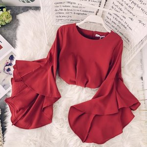 2019 Spring Korean New Ruffled Trumpet Sleeves Womens Shirt O neck Solid Color Chiffon Women Blouses Fashion Trend Ladies Tops