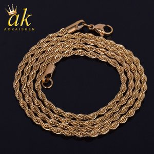3MM Rope Chain Gold Color Material Stainless Steel Hip Hop Rock Street Jewelry