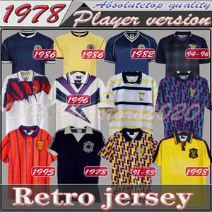 78 82 1986 1995 Ecosse rétro Jersey Soccer Jersey Equipements de la Coupe du Monde Maison Bleu Kits 1996 1998 Vintage Vintage Écosse Tops de chemise de football rétro