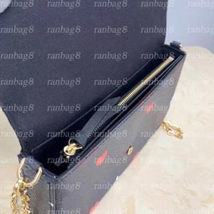 Nuevo diseñador 3 PCS / Set Cadena Bolso de la cadena Moda de mujer Bolsas de hombro Flor Crossbody Messenger Bag con caja naranja bolsa de polvo Pequeña bolsa