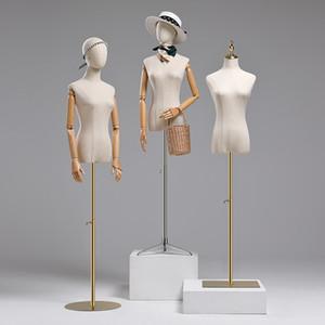 Robe Form Tissu Couvercle Demi corps Femelle Mannequin Modèle Torso avec affichage d'armes en bois pour les femmes Cocktating