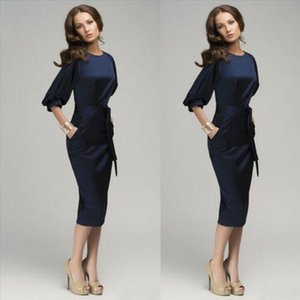 Fashion Elegant Womens Work Career Bodycon Pencil Dress Half Sleeve Blue Office Business Formal Dresses Cocktail Party Wear